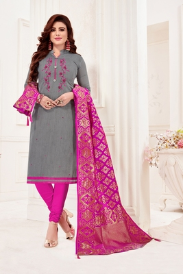 Grey embroidered faux cotton salwar