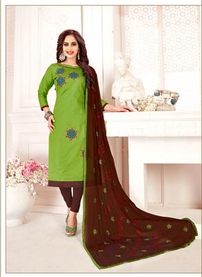 Light-green embroidered cotton poly salwar