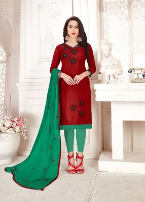 Maroon embroidered cotton poly salwar