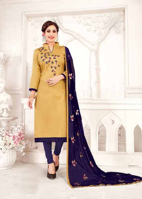 Cream embroidered cotton poly salwar