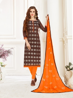 Brown embroidered banarasi brocade salwar