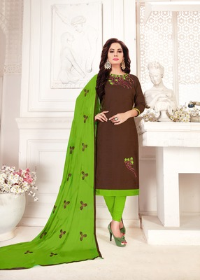 Brown embroidered cotton poly salwar