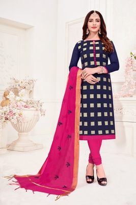 Navy-blue embroidered banarasi brocade salwar
