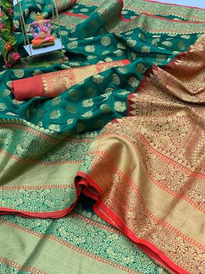 Women'S Designer Green Banarasi Kanjivaram Saree With Designer Blouse