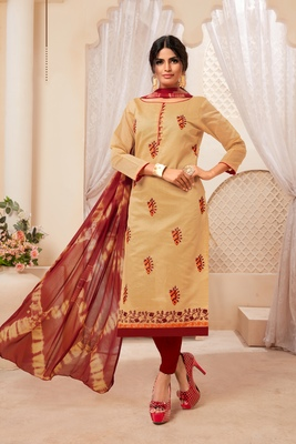 Beige embroidered raw silk salwar