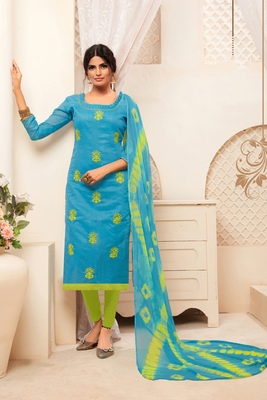 Sky-blue embroidered raw silk salwar