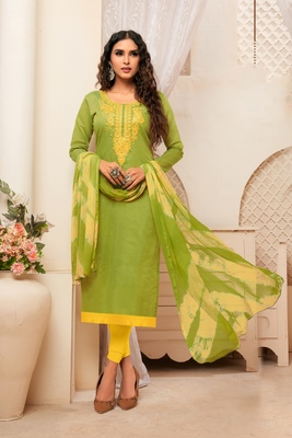 Olive embroidered raw silk salwar