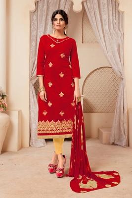 Red embroidered raw silk salwar