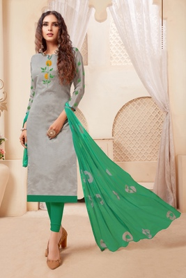 Grey embroidered raw silk salwar