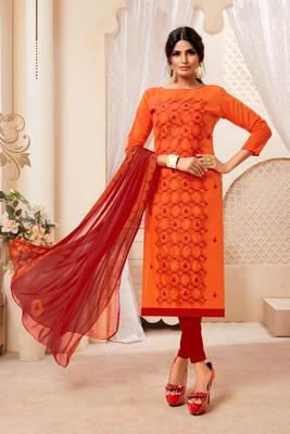 Orange embroidered raw silk salwar