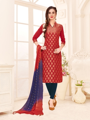 Maroon embroidered banarasi silk salwar