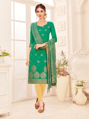 Green embroidered banarasi silk salwar