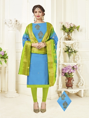 Sky-blue embroidered cotton poly salwar