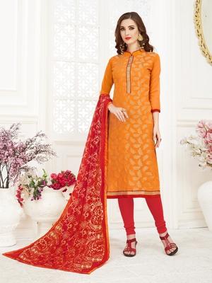 Orange embroidered banarasi brocade salwar