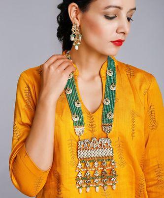 Long Kundan Neckpiece with Earrings