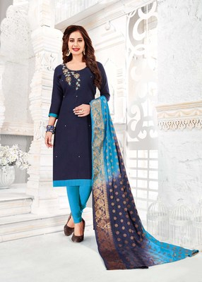 Blue embroidered cotton poly salwar