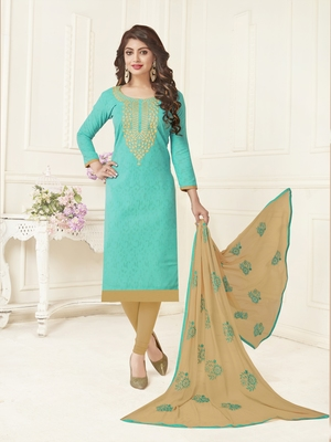 Green embroidered jacquard salwar