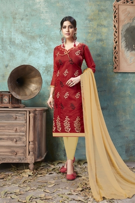 Maroon embroidered chanderi salwar