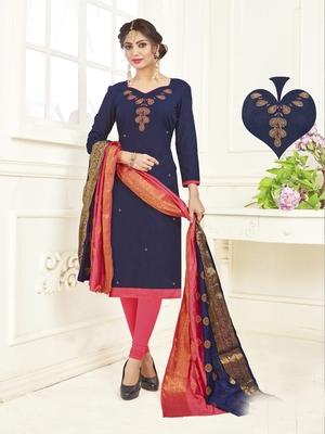 Dark-blue embroidered cotton poly salwar