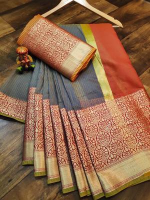 Women'S Designer Grey Banarasi Kanjivaram Saree With Designer Blouse