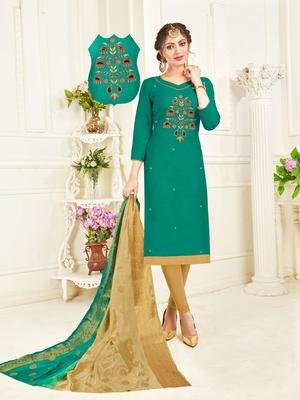 Dark-green embroidered cotton poly salwar