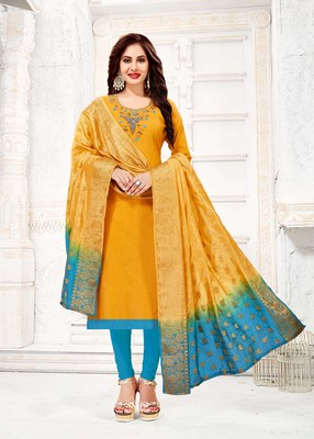 Yellow embroidered cotton poly salwar