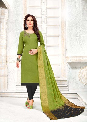 Green embroidered cotton poly salwar