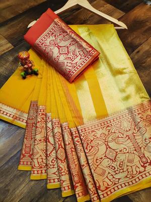 WOMEN'S DESIGNER YELLOW BANARASI KANJIVARAM SAREE WITH DESIGNER BLOUSE