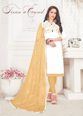 White embroidered cotton poly salwar