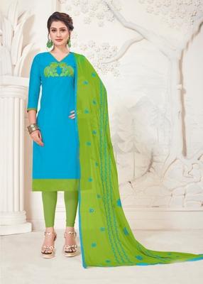 Sky-blue embroidered raw silk salwar