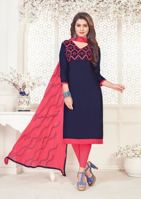 Navy-blue embroidered cotton poly salwar