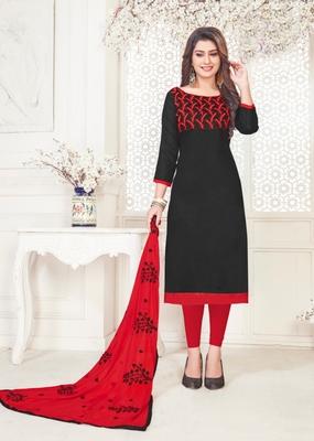 Black embroidered cotton poly salwar