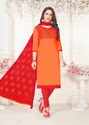 Orange embroidered cotton poly salwar