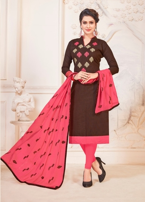 Coffee embroidered cotton poly salwar