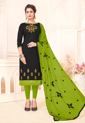 Black embroidered cotton poly salwar