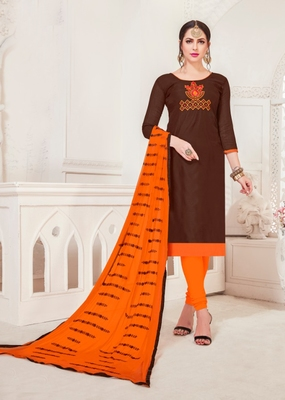 Coffee embroidered raw silk salwar