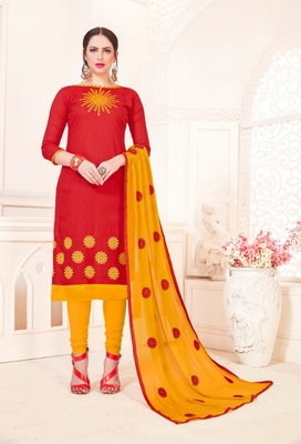 Red embroidered cotton poly salwar