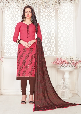 Pink embroidered cotton poly salwar