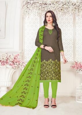 Dark-grey embroidered cotton poly salwar