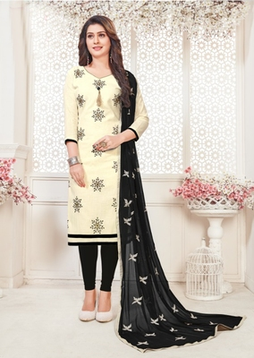 Off-white embroidered cotton poly salwar