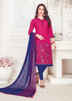 Magenta embroidered cotton poly salwar