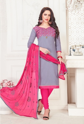 Grey embroidered cotton poly salwar