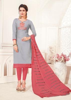 Grey embroidered raw silk salwar