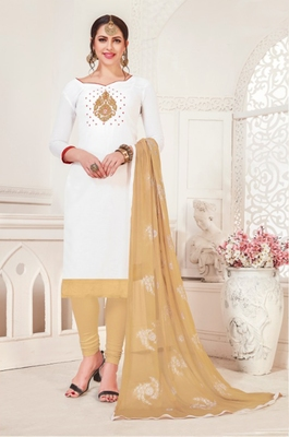 White embroidered raw silk salwar