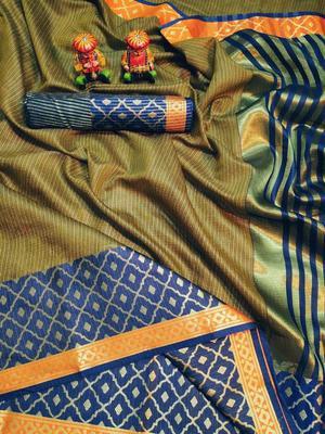 WOMEN'S DESIGNER MAHENDI BANARASI KANJIVARAM SAREE WITH DESIGNER BLOUSE