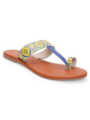 Women Ethnic Yellow And Blue Mughal Kolhapuri Shoes