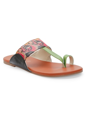 Women Ethnic Elephant Print Kolhapuri Shoes