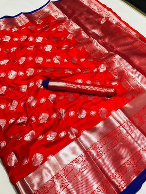 WOMEN'S DESIGNER RED  BANARASI KANJIVARAM SAREE WITH DESIGNER BLOUSE