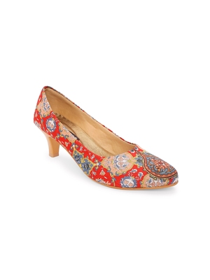 Women Ethnic Red Mughal Kitten Heels Shoes