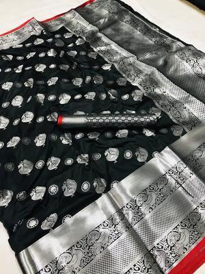 WOMEN'S DESIGNER BLACK BANARASI KANJIVARAM SAREE WITH DESIGNER BLOUSE